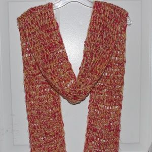 Long Cute Scarf Knitted Pink White Yellow